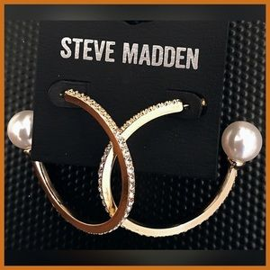 🏷 NEW Steve Madden Open Hoop Pearl Earring